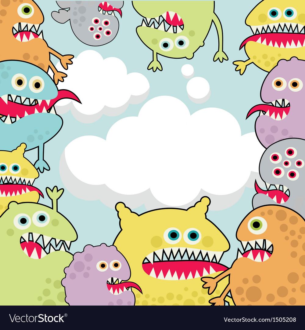 Cute monsters banner cloud shape vector image
