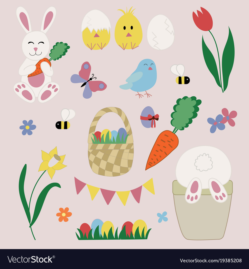 Easter elements and icons set