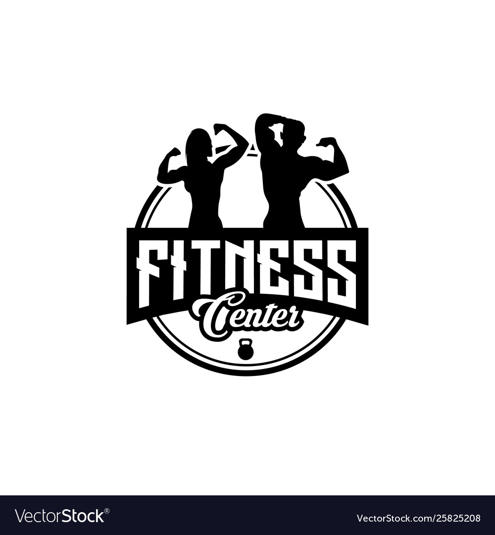 Fitness club designs with exercising athletic man