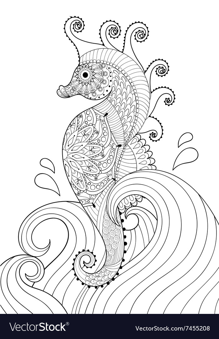 Hand drawn artistic Sea horse in waves for adult