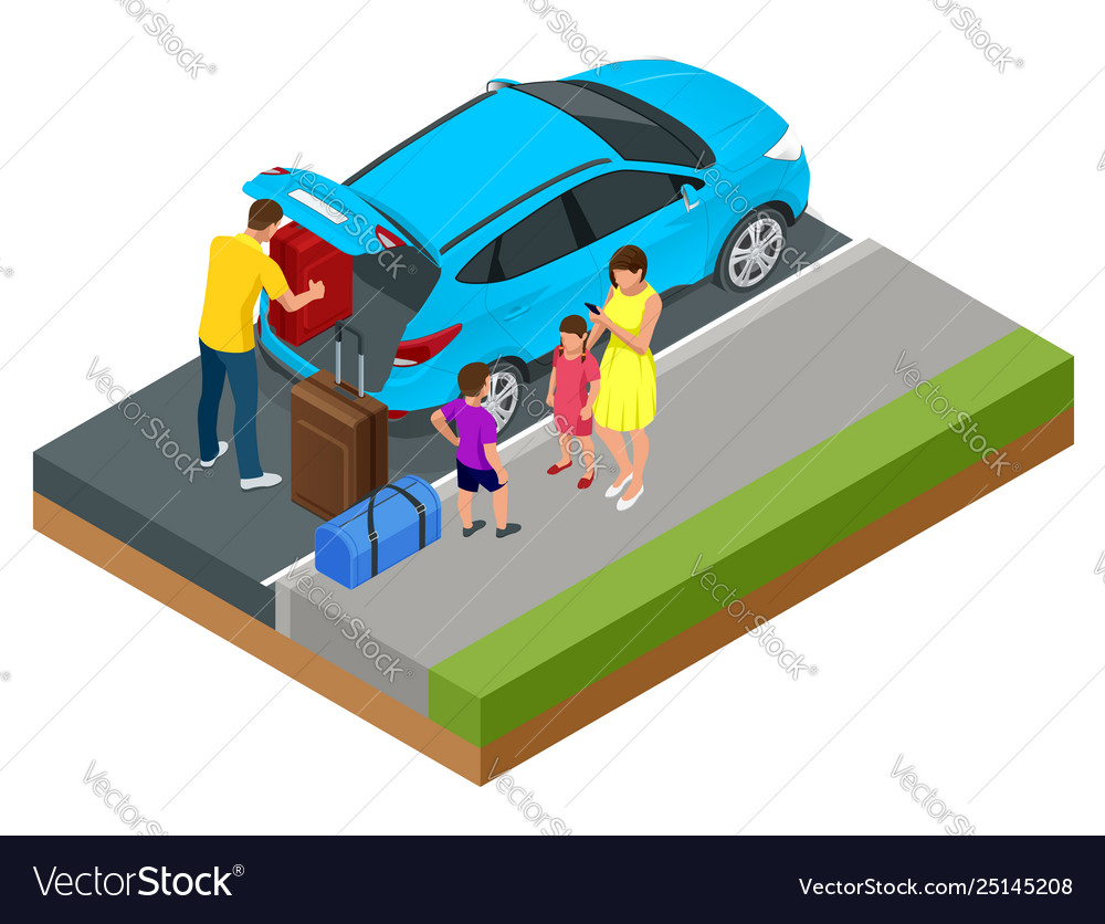 Isometric concept family car traveling people
