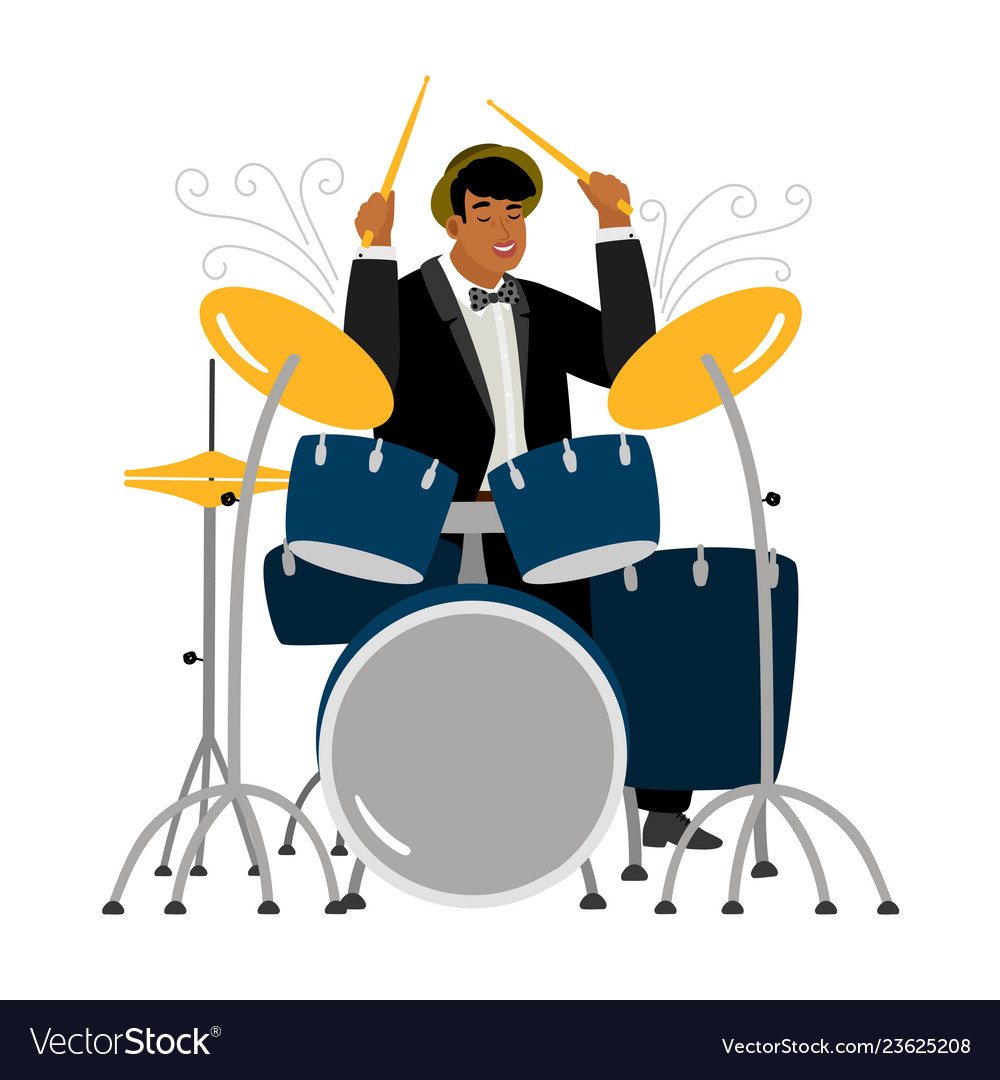 Jazz drummer playing isolated on white background