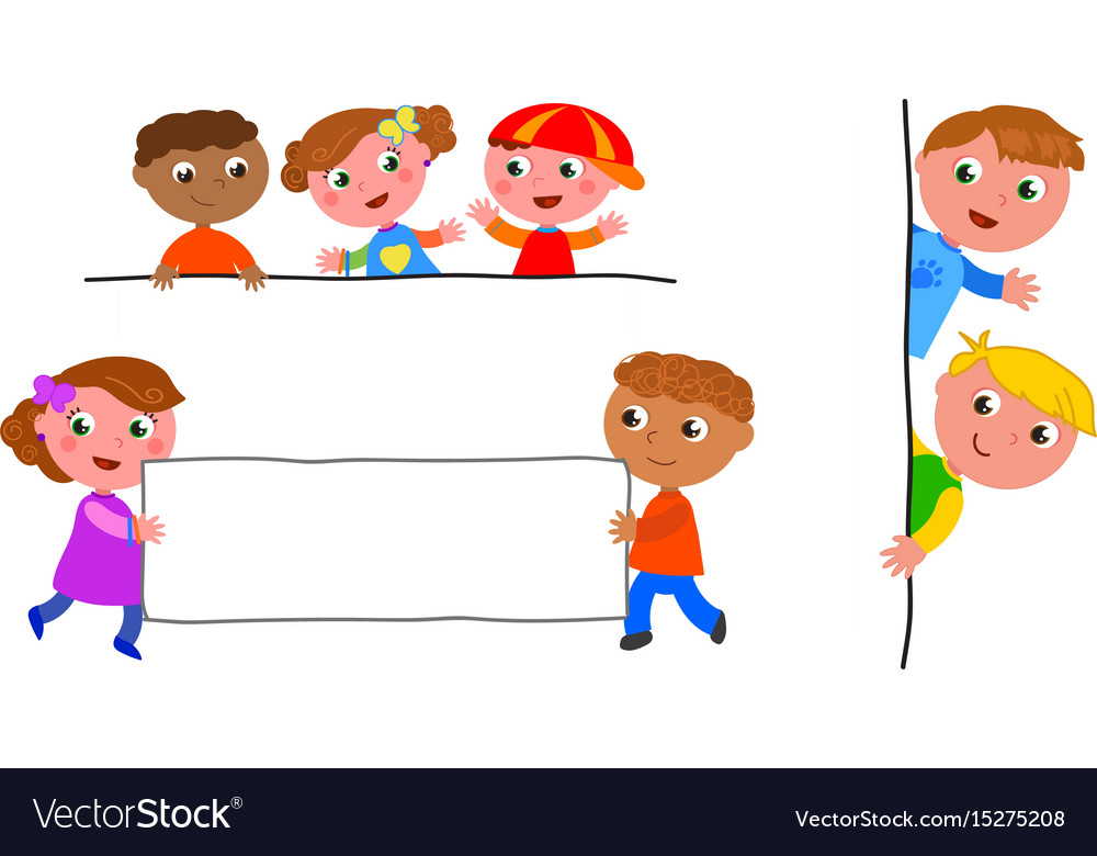 Kids holding blank label