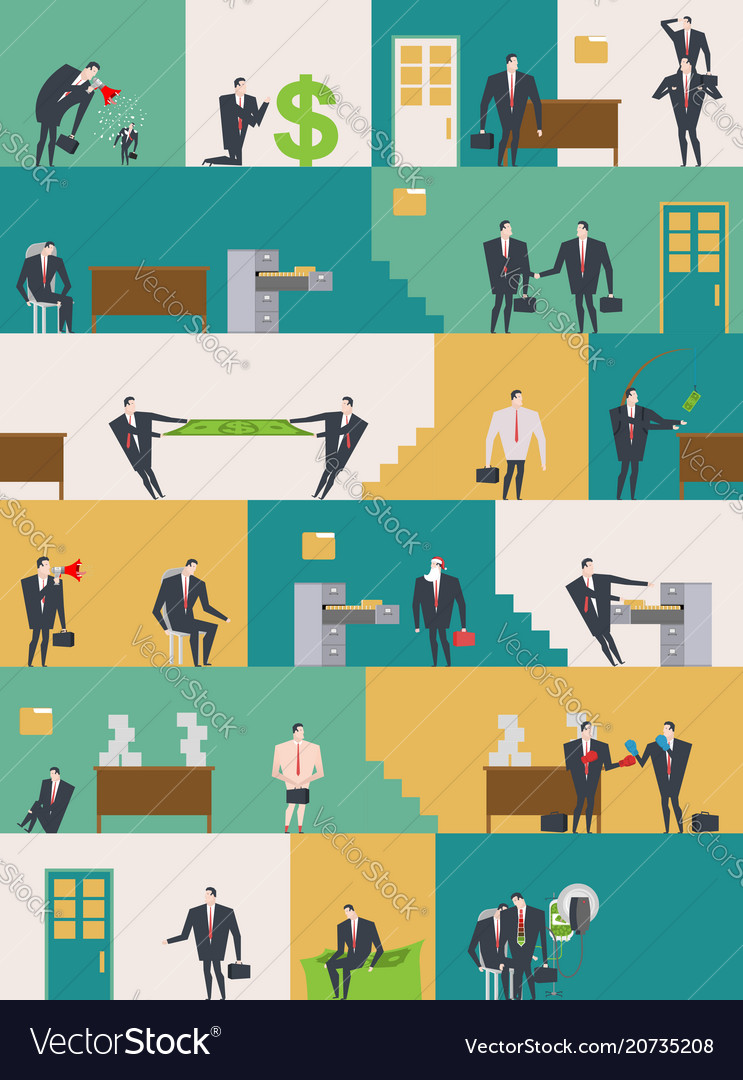Office life pattern corporate background managers vector image