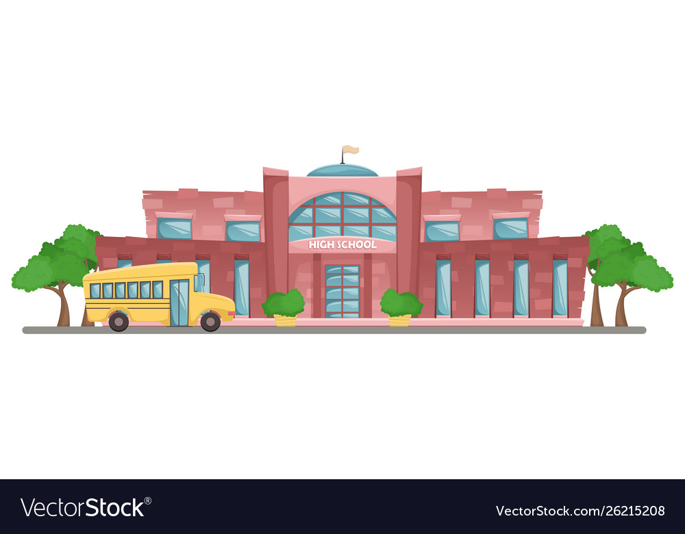 School building in cartoon style