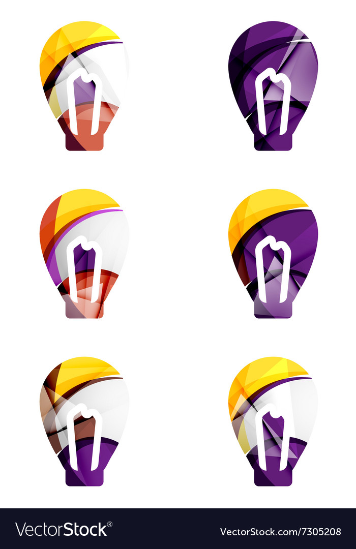 Set of abstract light bulb icons business