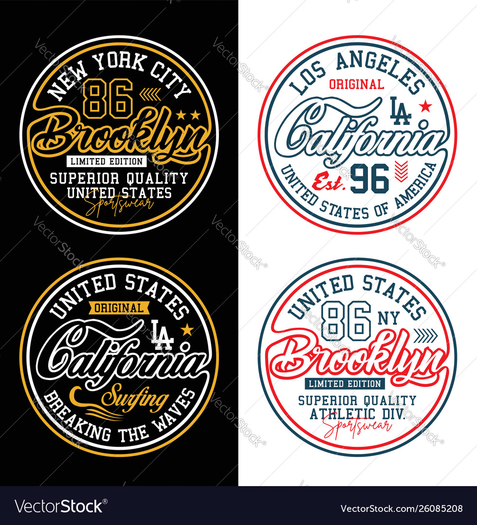Set typography california brooklyn for t-shirt