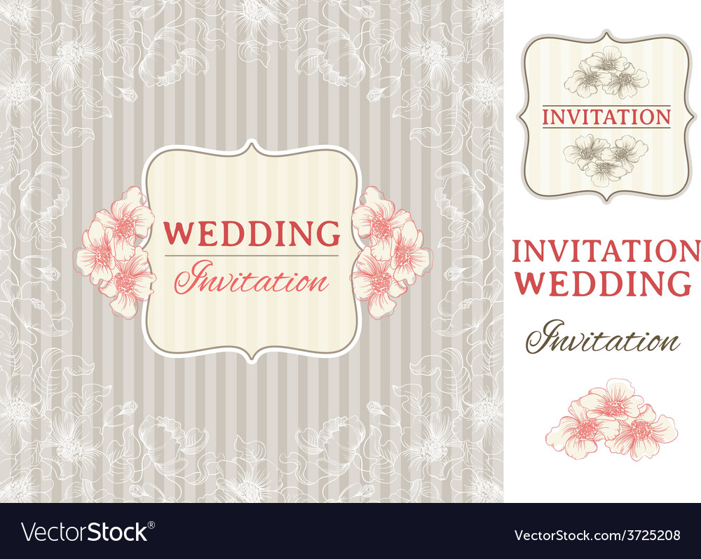 Vintage invitation card and design elements