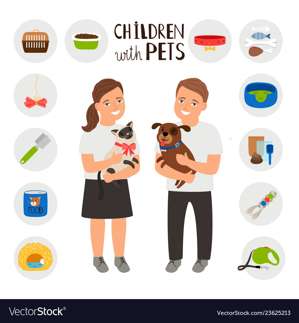 Children boy and girl with pets cat and dog