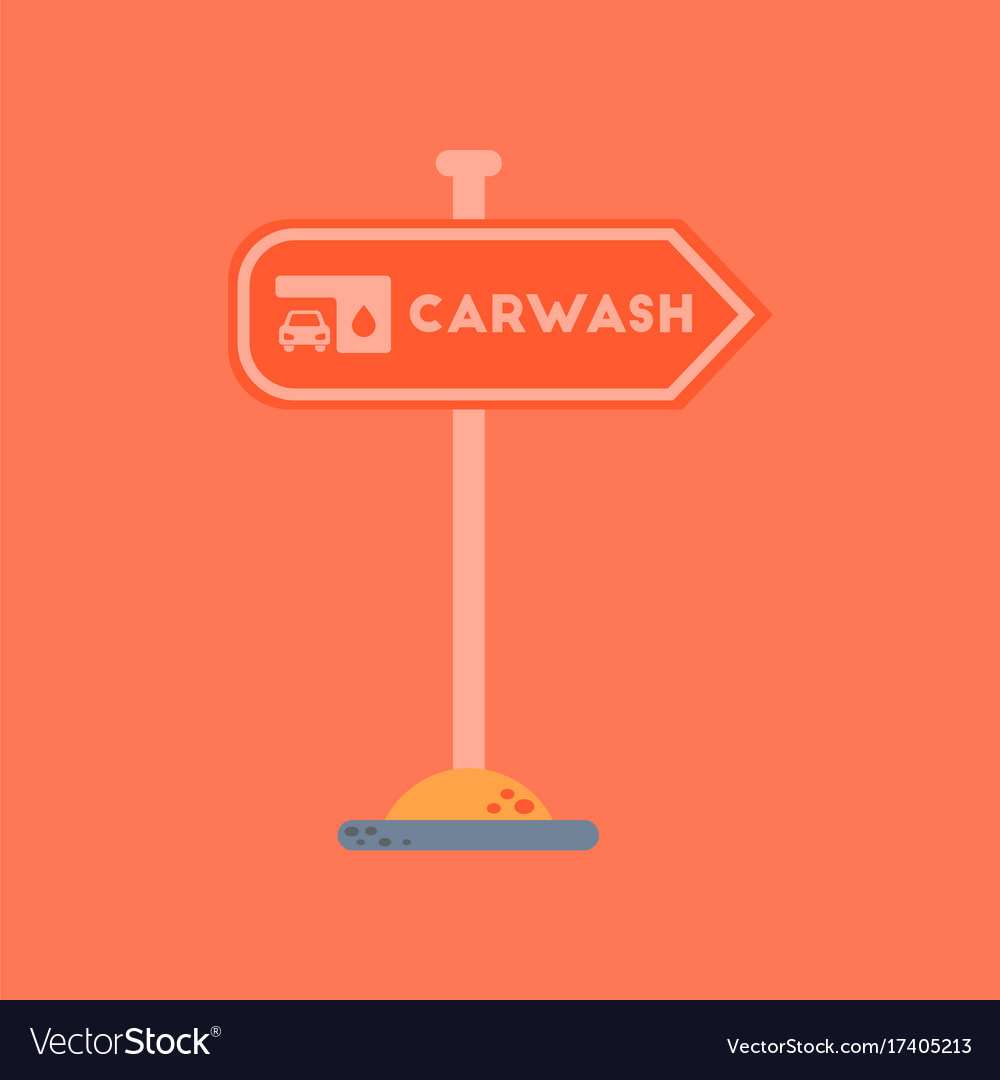 Flat Icon On Background Car Wash Sign Royalty Free Vector