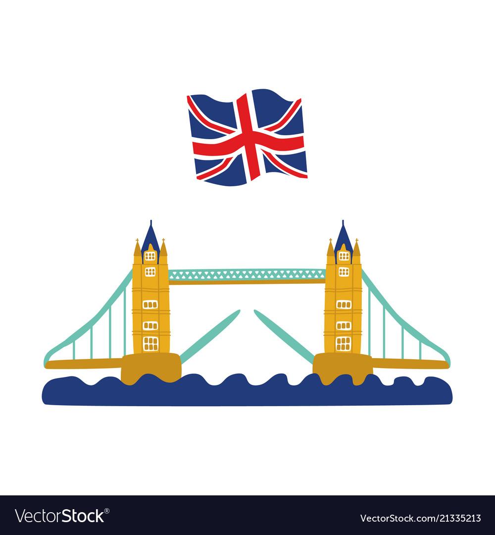 Flat tower bridge united kingdom union jack