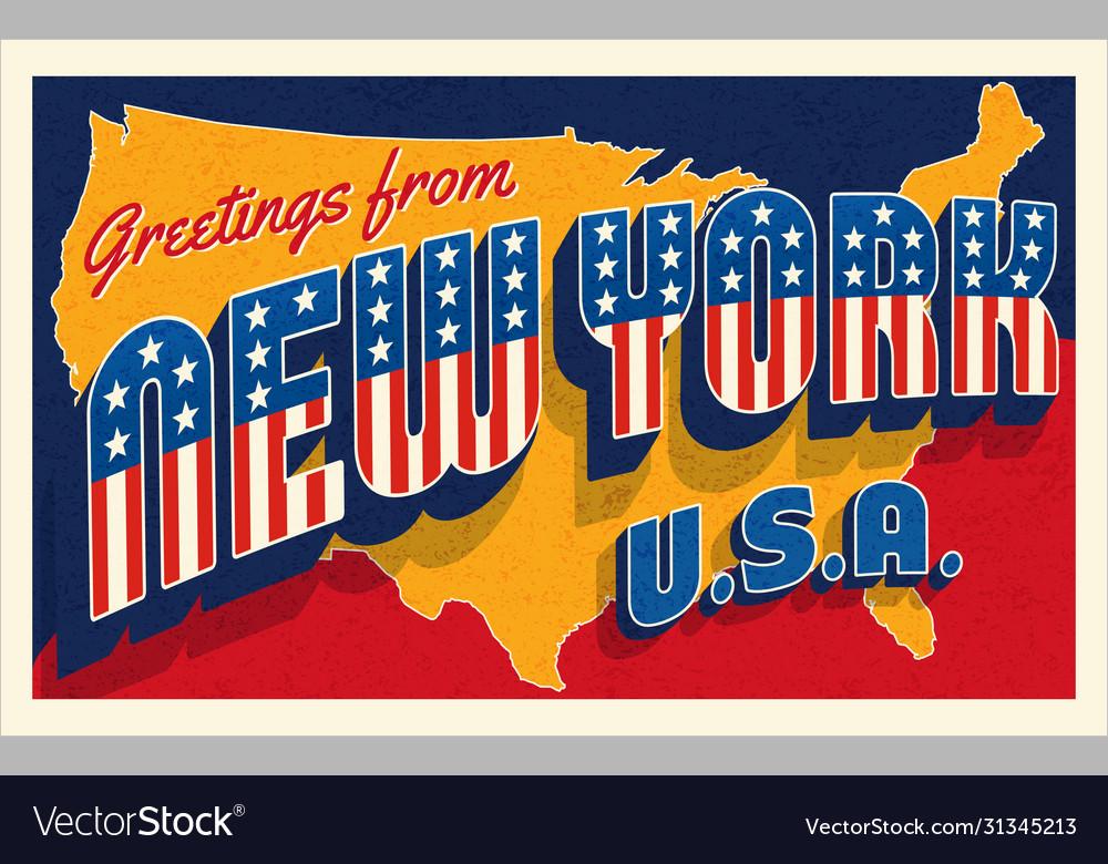 Greetings from new york usa retro postcard
