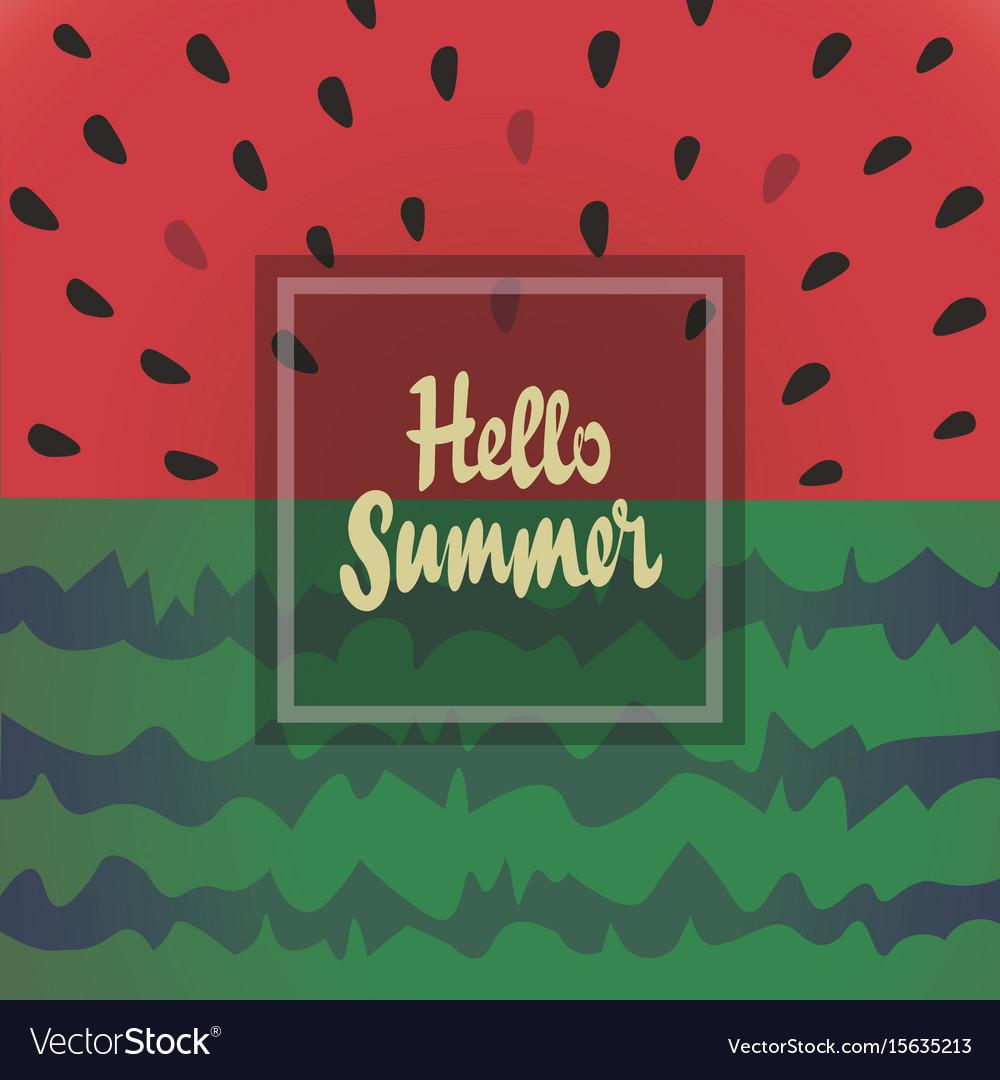 Hello summer background with watermelon