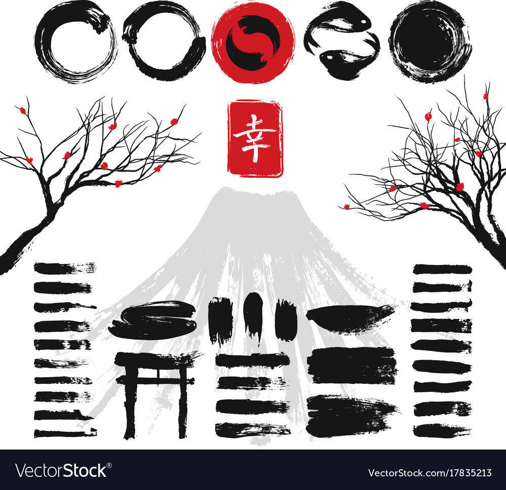 Japanese ink grunge art brushes and asian design vector image