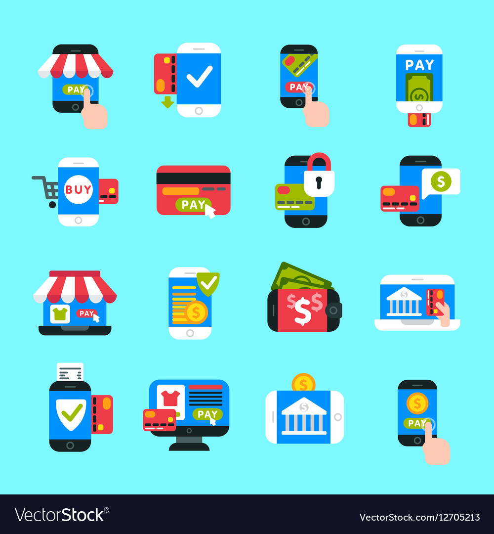 Mobile payments icons set