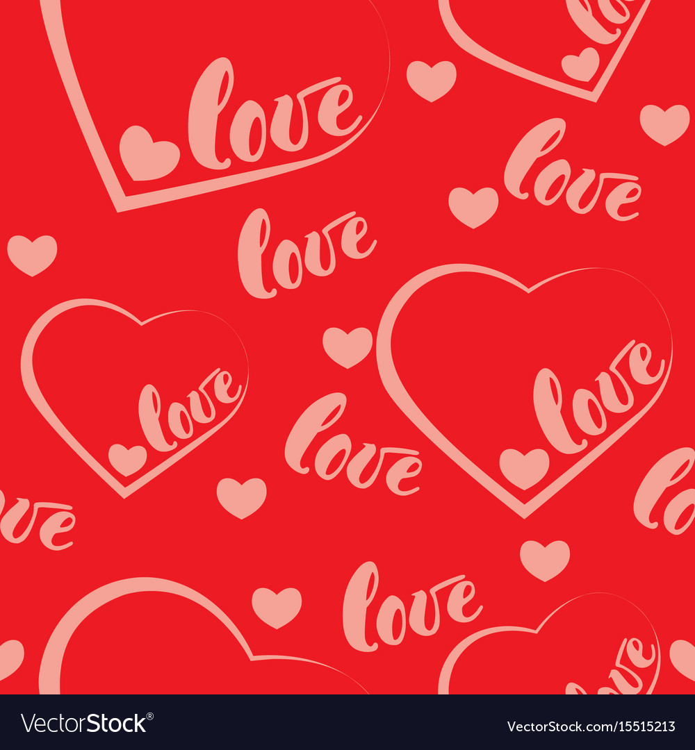 Romantic red love and heart pattern background vector image