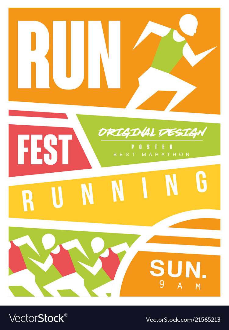 Run Fest Colorful Poster Template For Sport Event