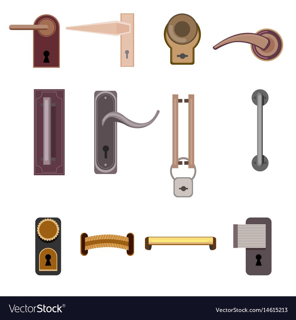 Stylish modern door handles collection vector image