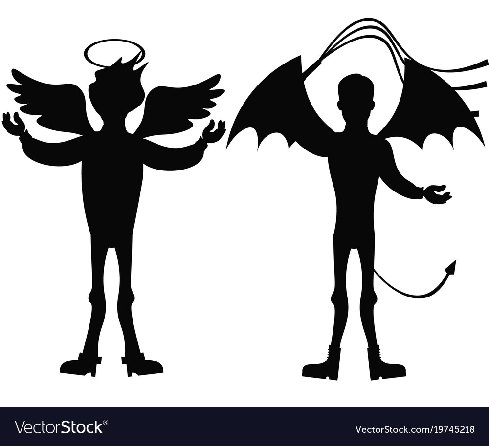 Angel and demon silhouette isolated