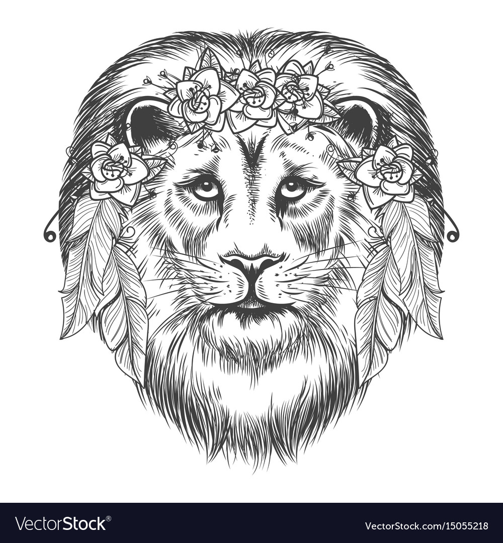 Boho style sketch lion with flowers