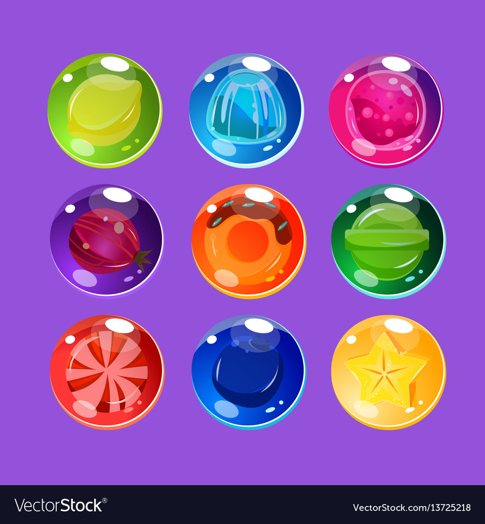 Bright colorful glossy candies with sparkles