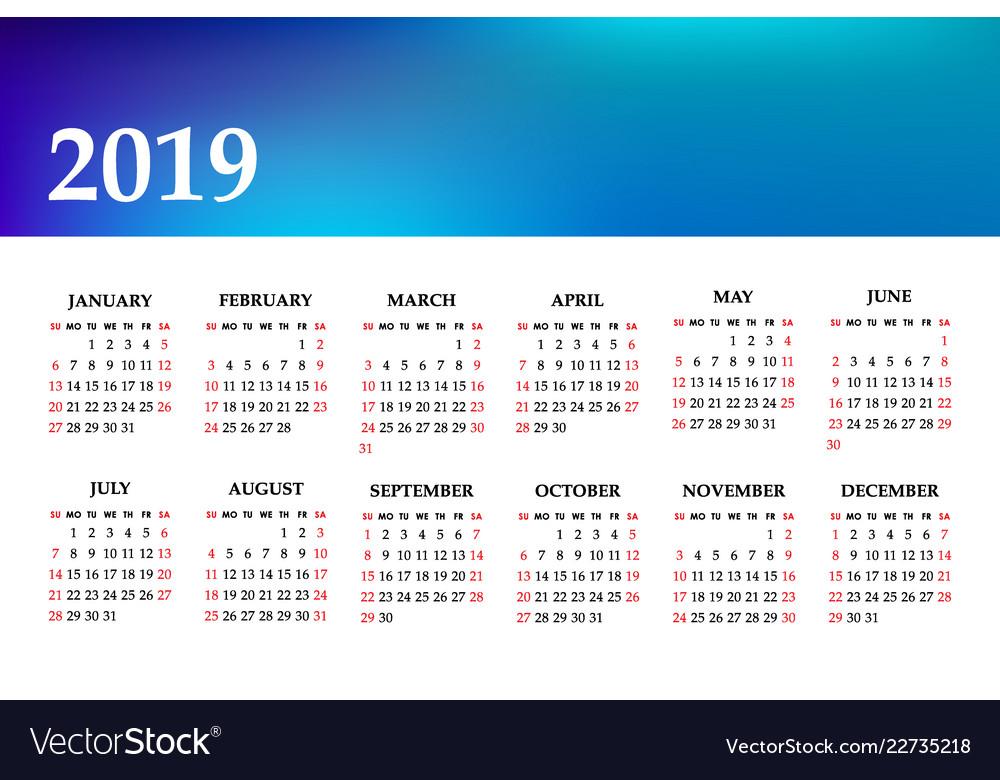 Calendar 2019 year on a white background week
