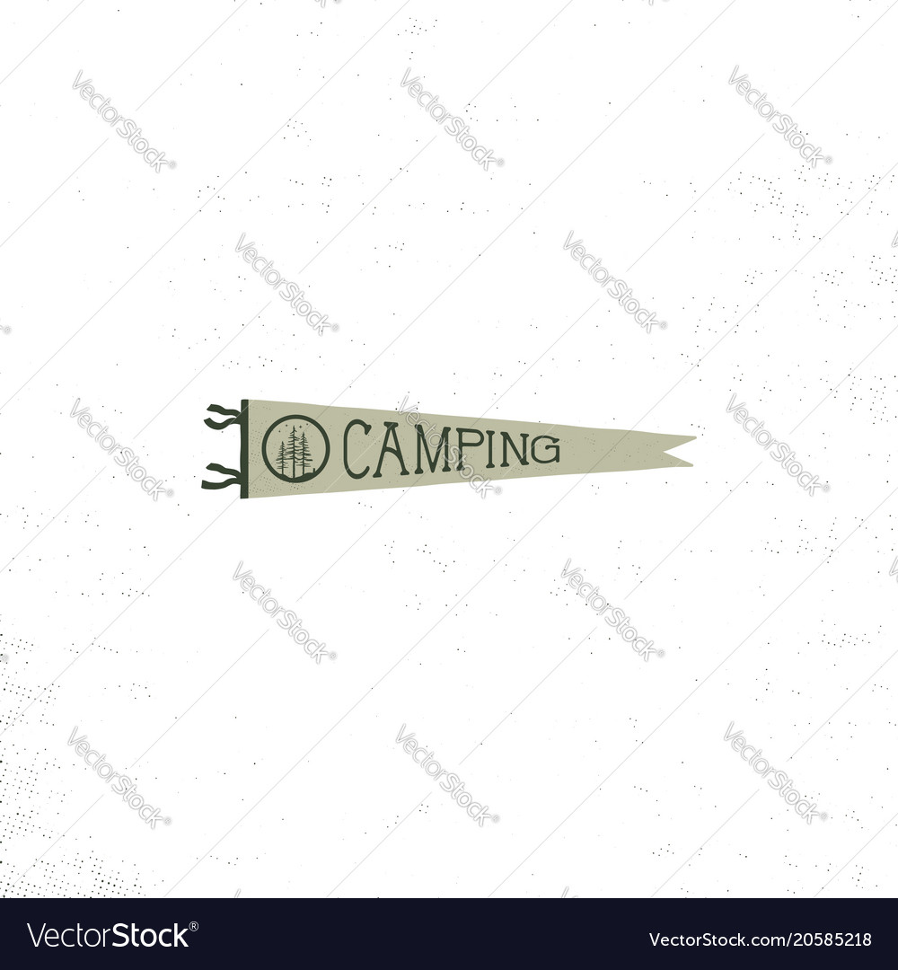 Camping pennant template vintage hand drawn