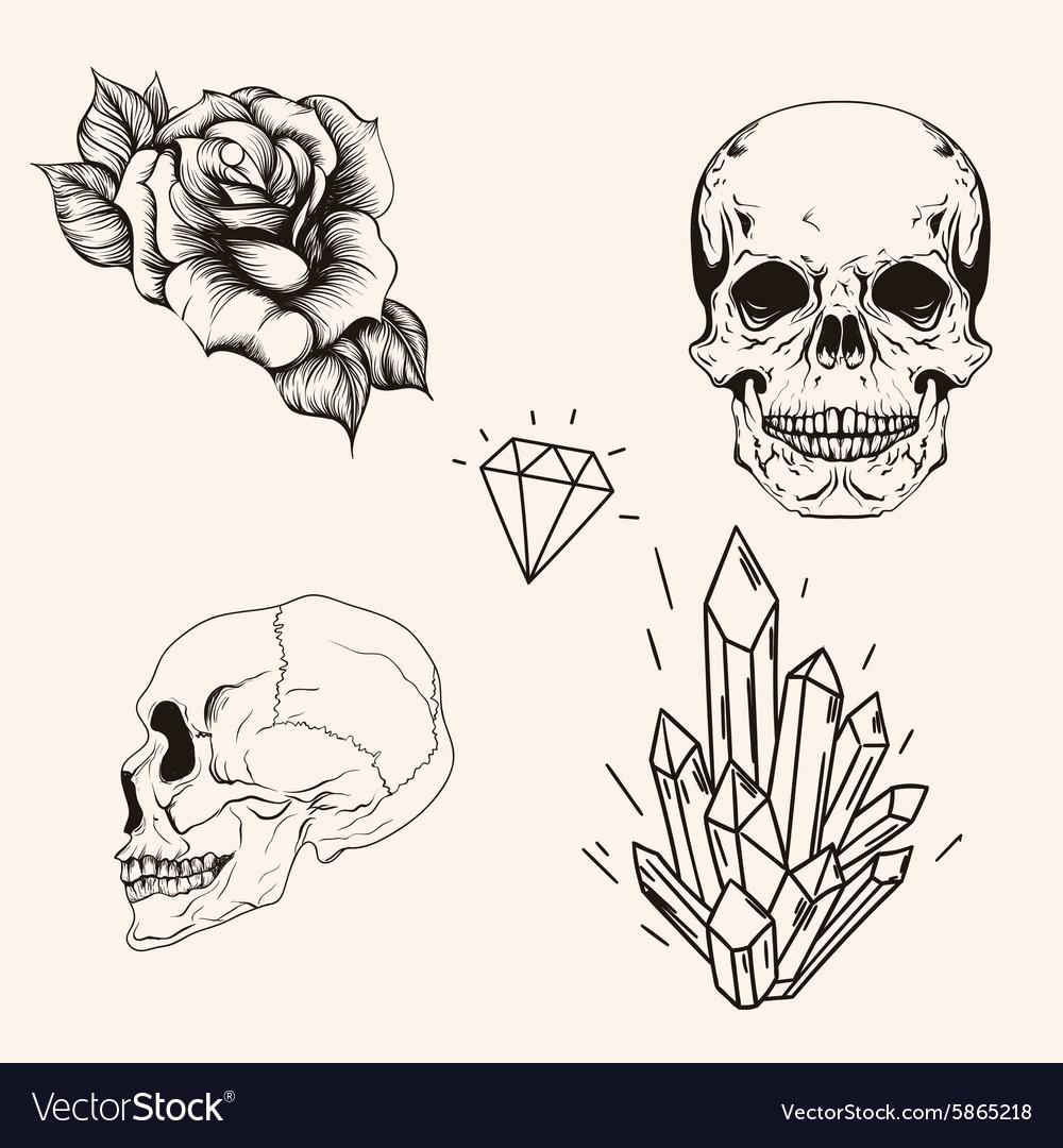 Hand drawn set sketch scull tattoo line art