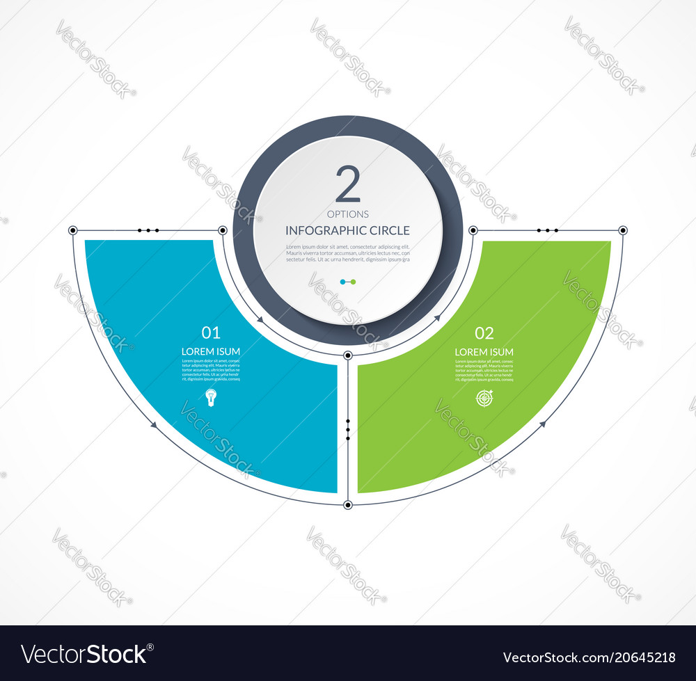 Infographic semi circle in thin line flat style