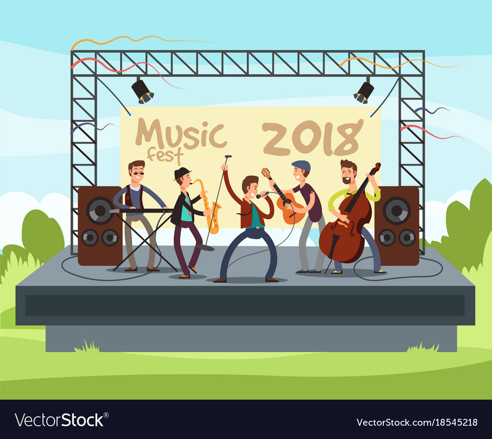 Outdoor summer festival concert with pop music