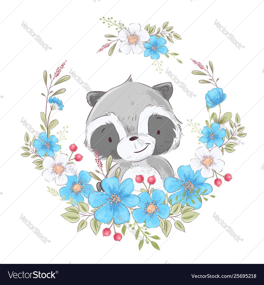 Postcard poster cute little raccoon in a wreath of