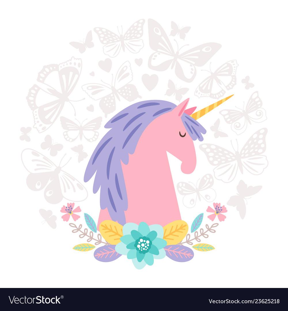 Unicorn dream flat on round background with