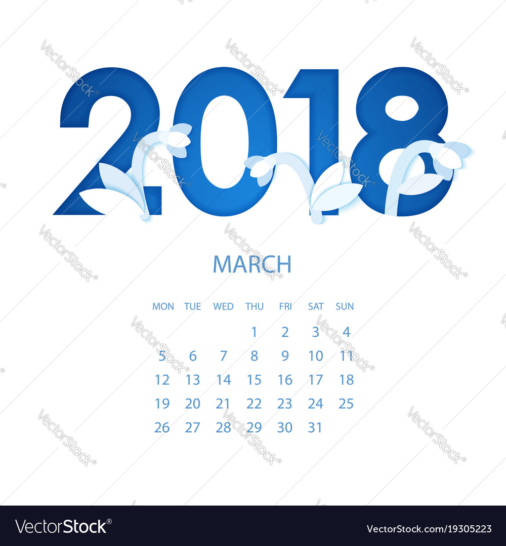 Calendar 2018 year march origami flowers paper