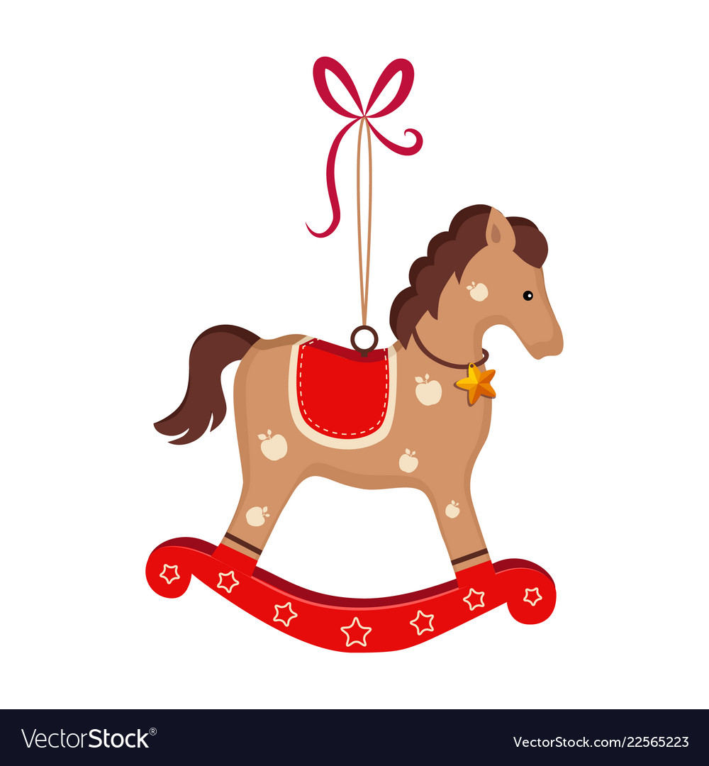 Christmas Horse Cartoon.Christmas Toy Rocking Horse Greeting Card With