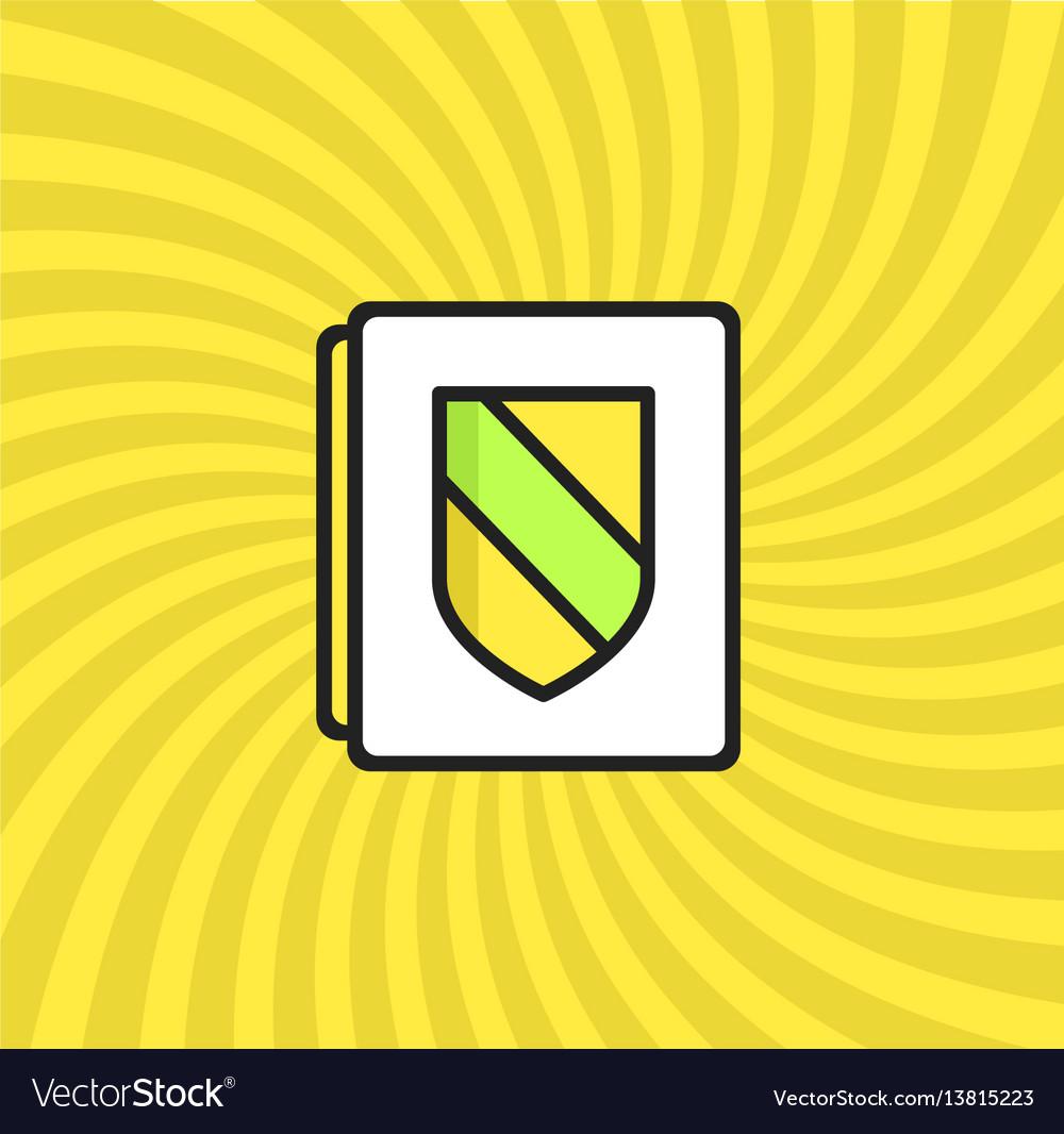 Document security icon simple line cartoon