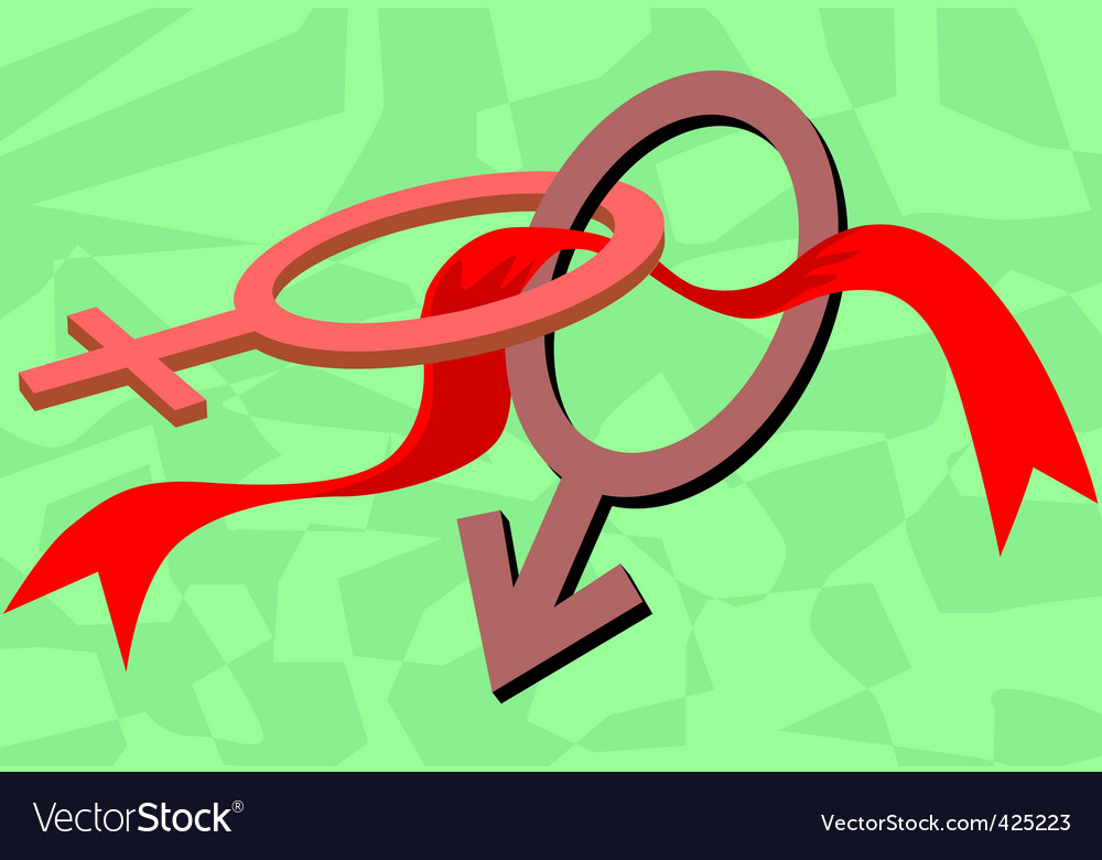 Description: Illustration of male symbol and red ribbon in a green ...