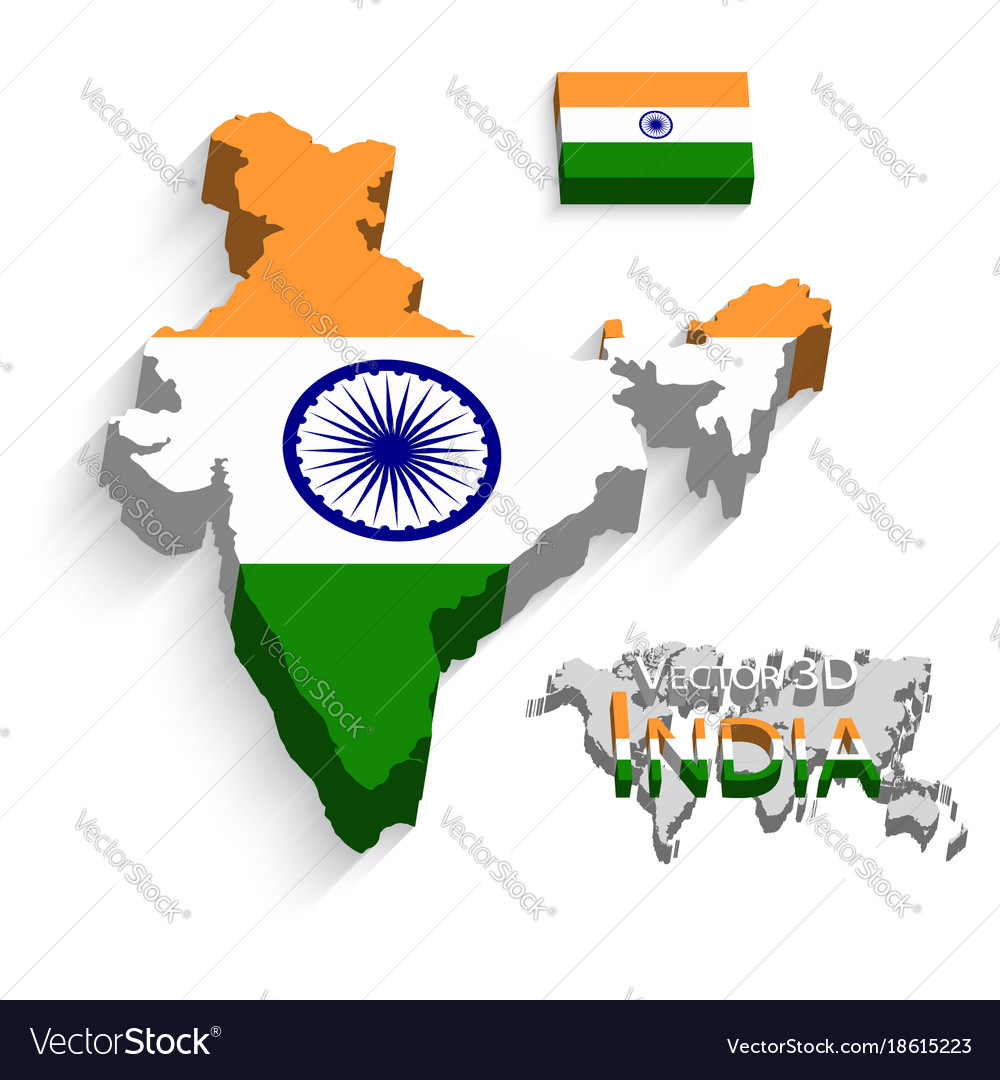 India Map Flag.India 3d Flag And Map Royalty Free Vector Image