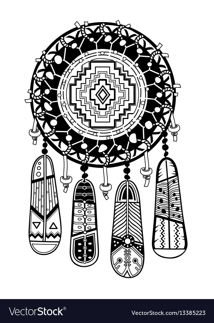 Indian dream catcher with ethnic ornaments and
