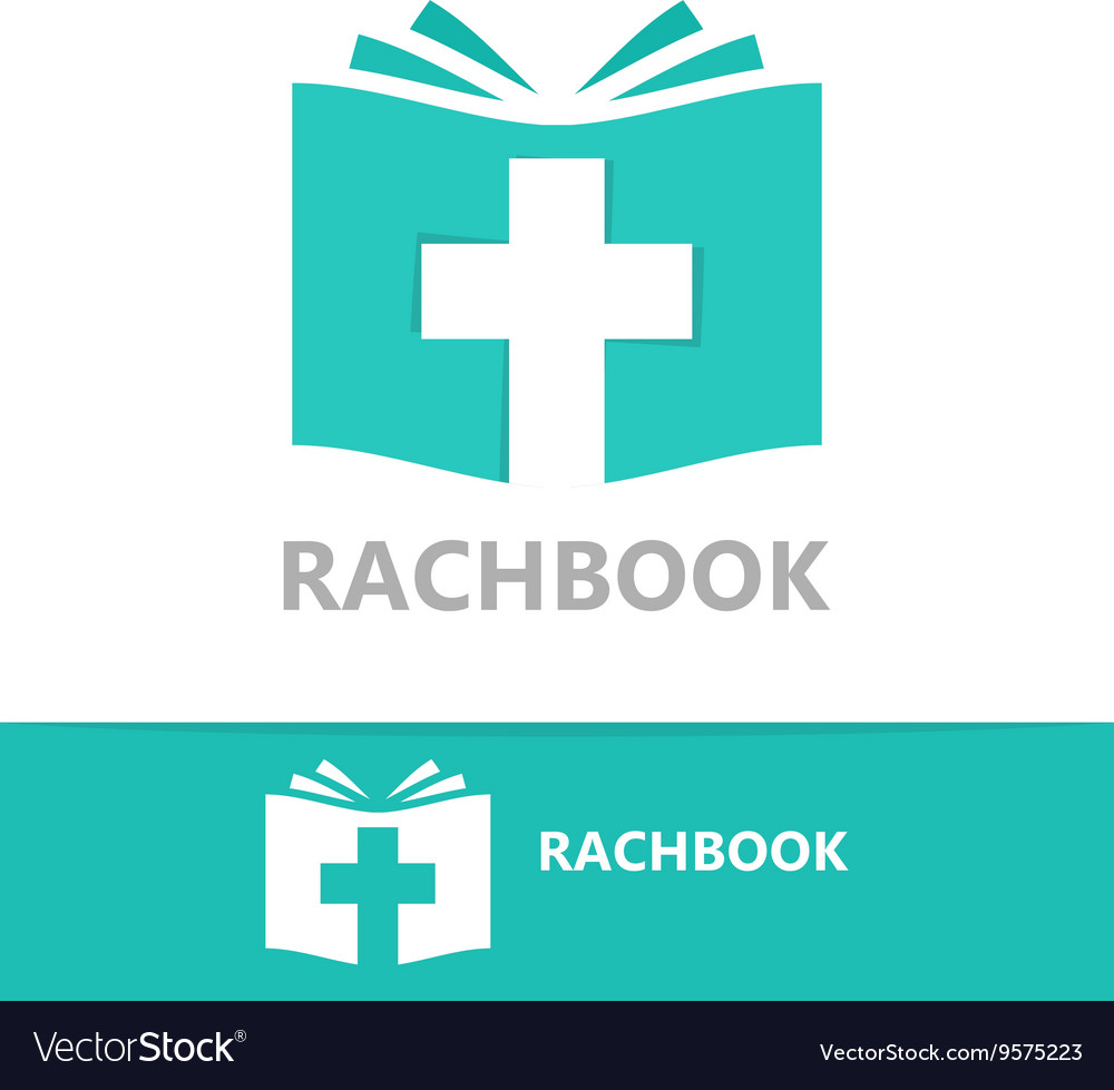 Logo combination of a book and christian