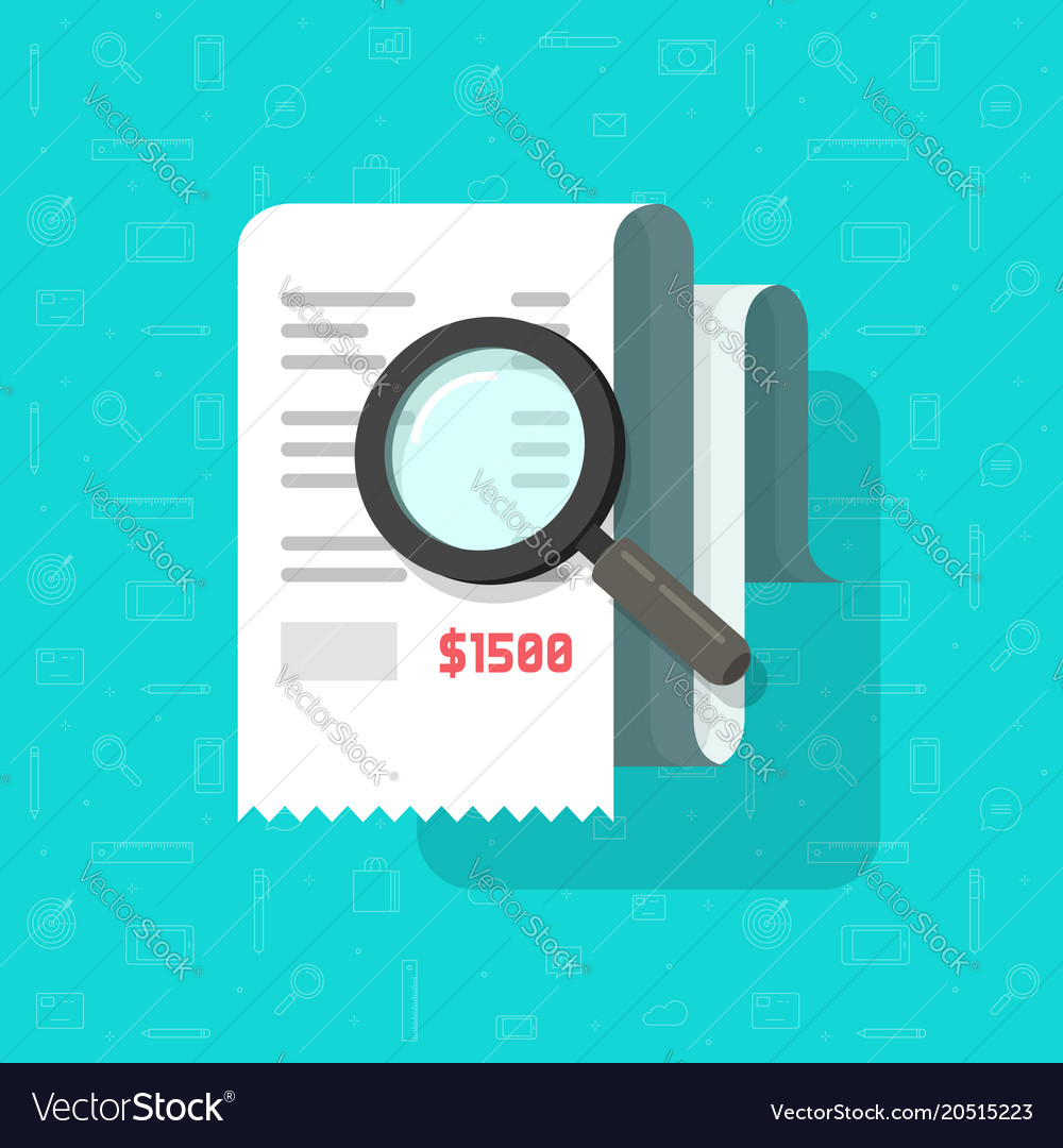 Receipt with magnifying glass vector image