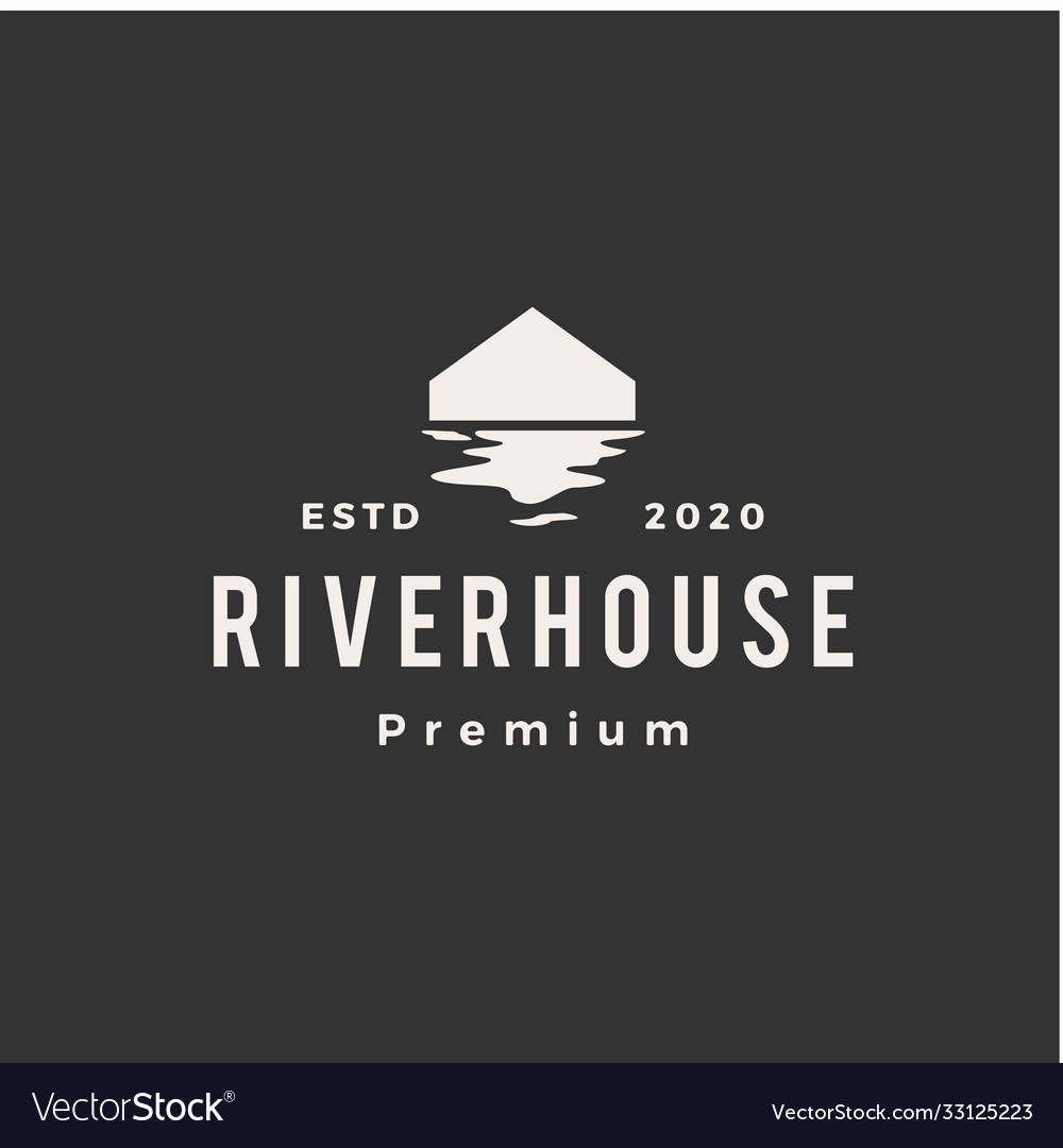River house hipster vintage logo icon
