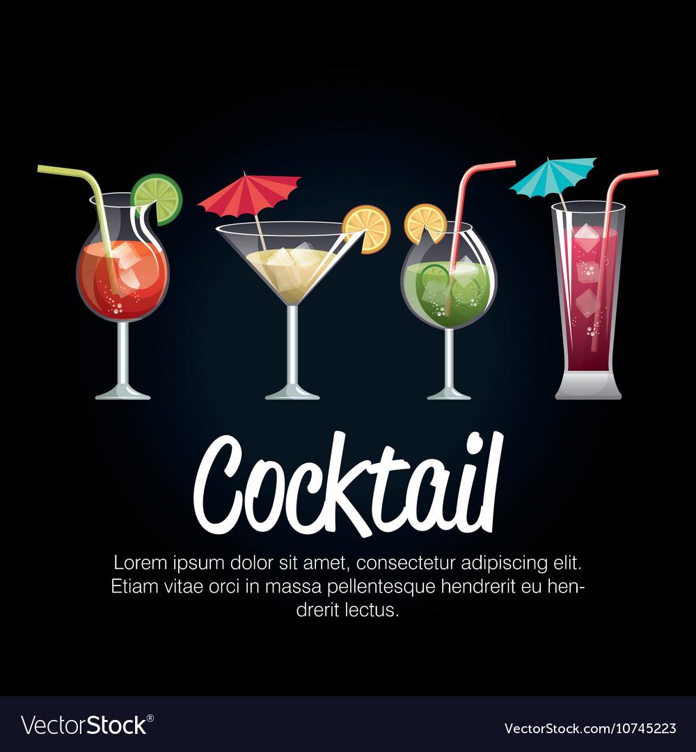 Set Cocktail Glass With Black Background Design Vector Image