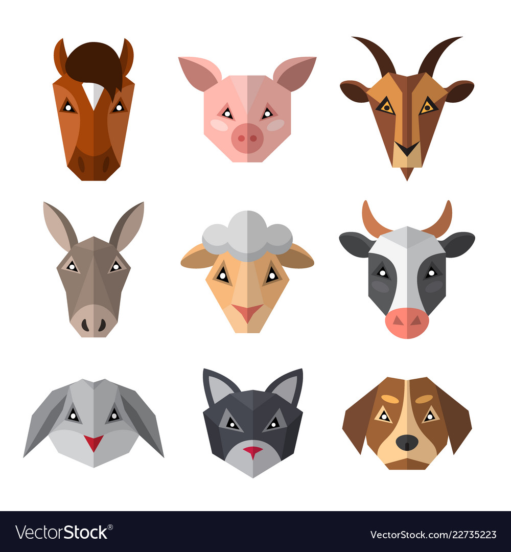 Set farm animals in low poly style animal icon