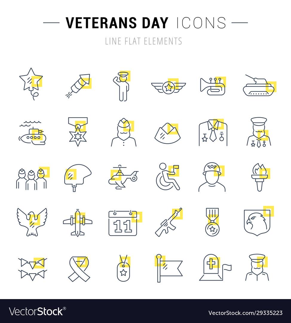 Set line icons veterans day
