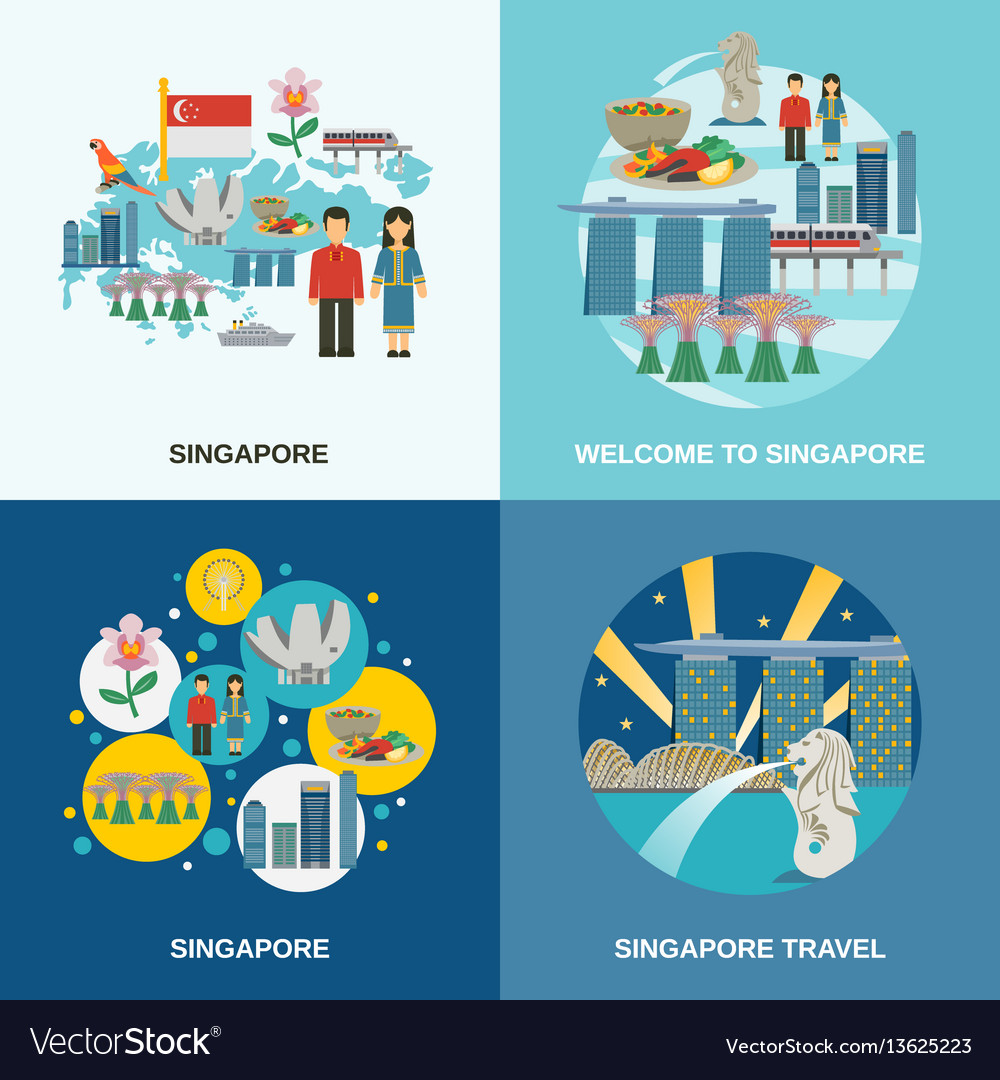 Singapore culture 4 flat icons composition