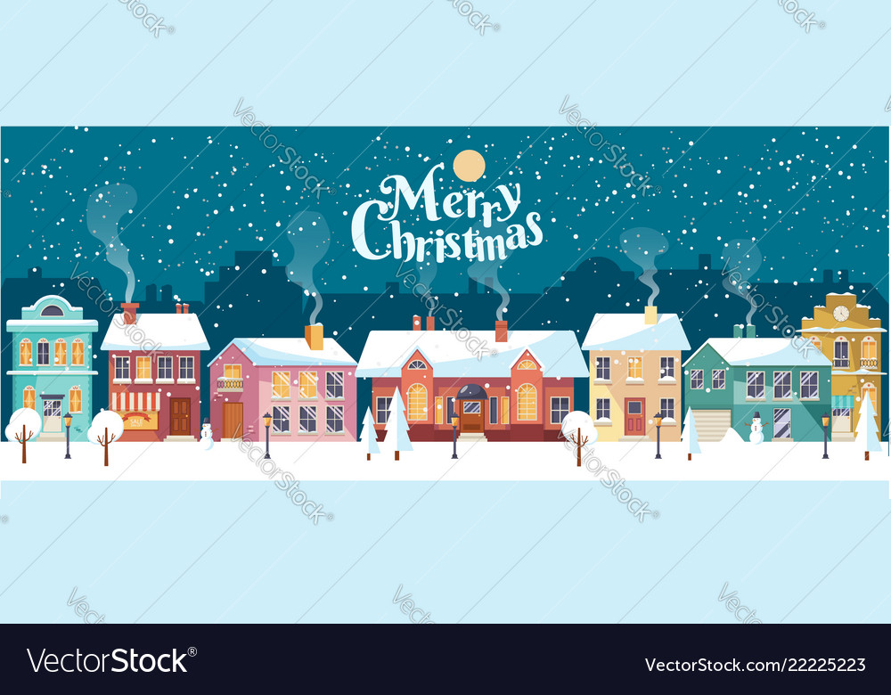 Snowy christmas night in cozy town panorama
