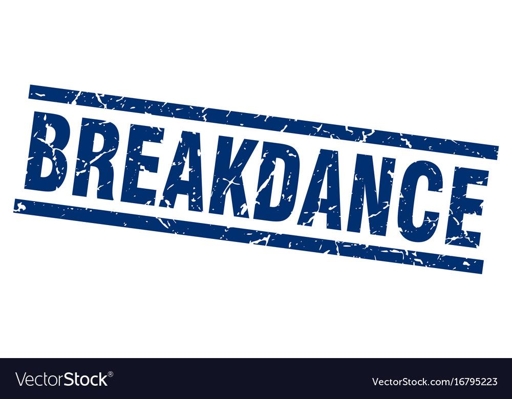 Square grunge blue breakdance stamp
