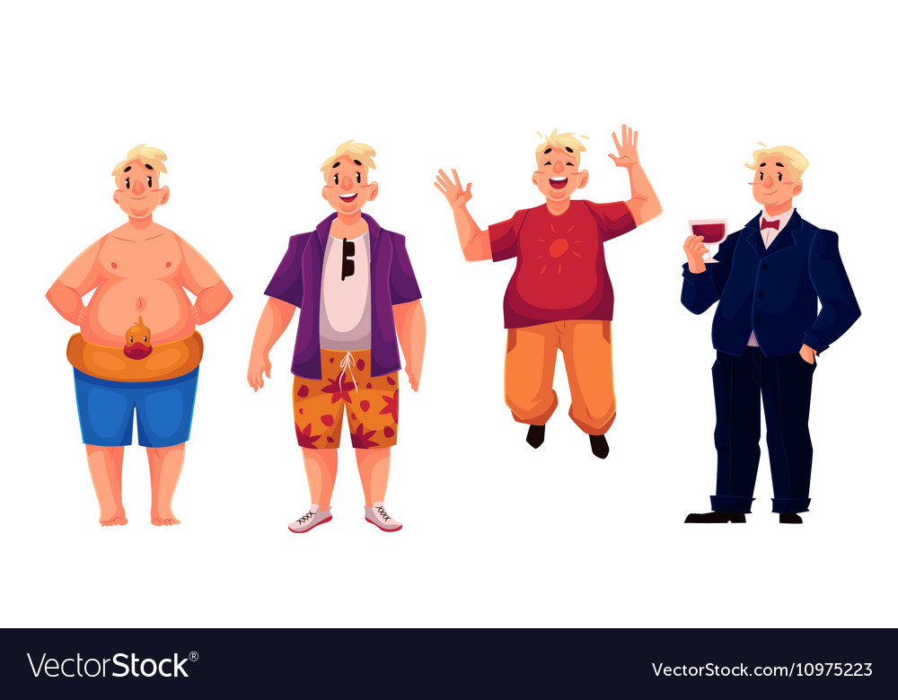 Young happy fat man in shorts casual clothing