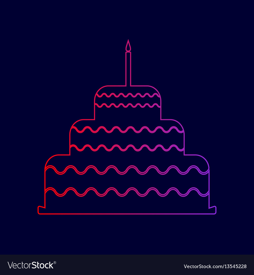 Cake with candle sign line icon with