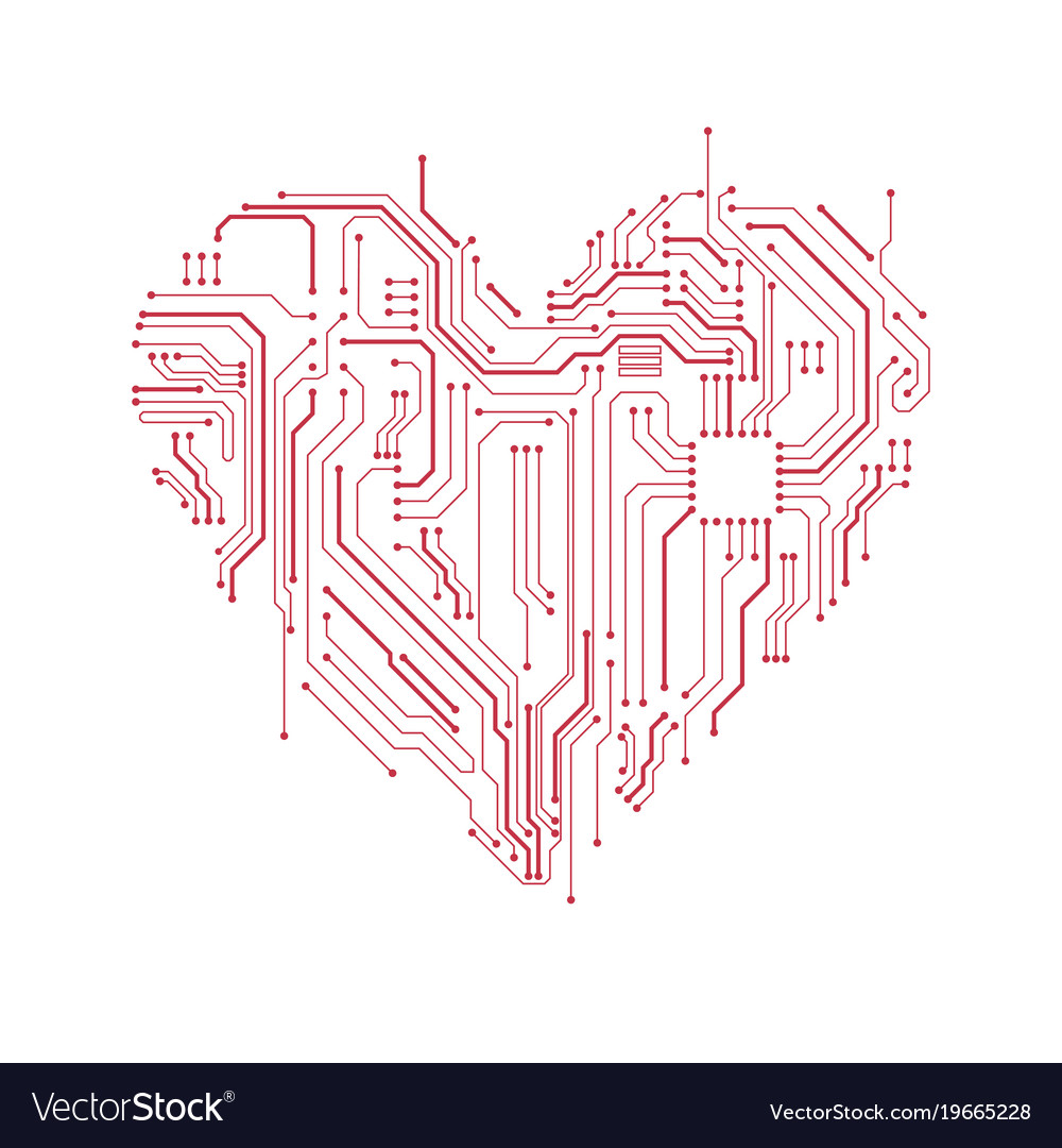 Circuit board heart symbol Royalty Free Vector Image